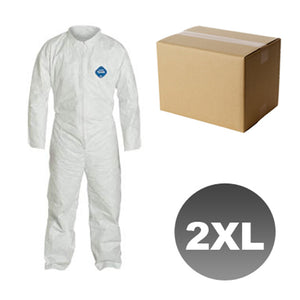 25 Suits TY120S - Size 2XL - DuPont Disposable Tyvek White Coverall Open wrists & ankles Suit