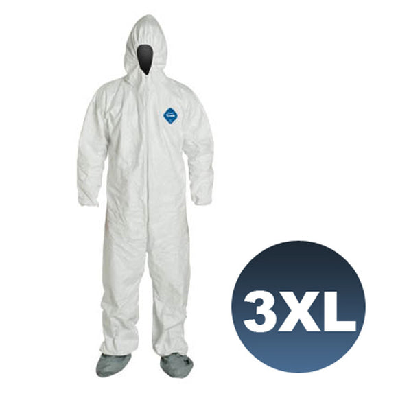 TY122S / Size 3XL - Dupont Tyvek Coverall Bunny Suite with Hood and boots