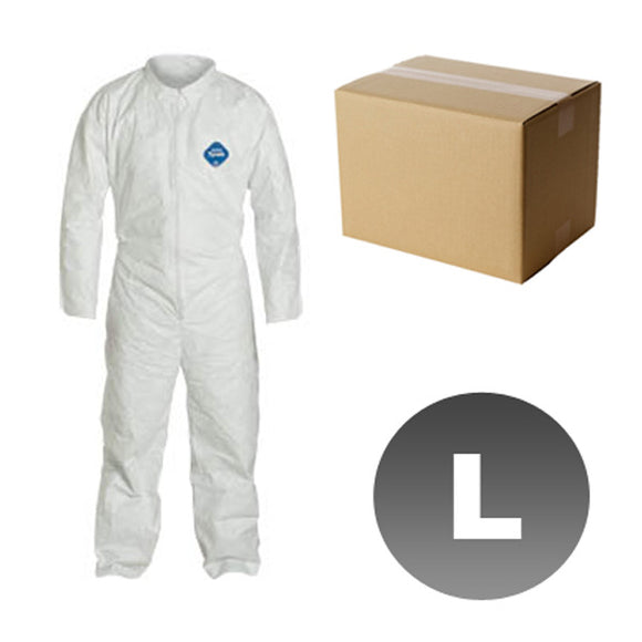 25 Suits TY120S - Size Large - DuPont Disposable Tyvek White Coverall Open wrists & ankles Suit