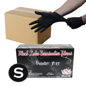Black Latex Powder Free Medical Exam Tattoo Piercing Gloves - Size Small - 1000 Gloves