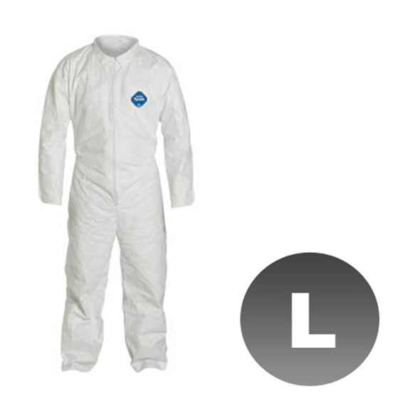 TY120S - Size Large - DuPont Disposable Tyvek White Coverall Open wrists & ankles Suit