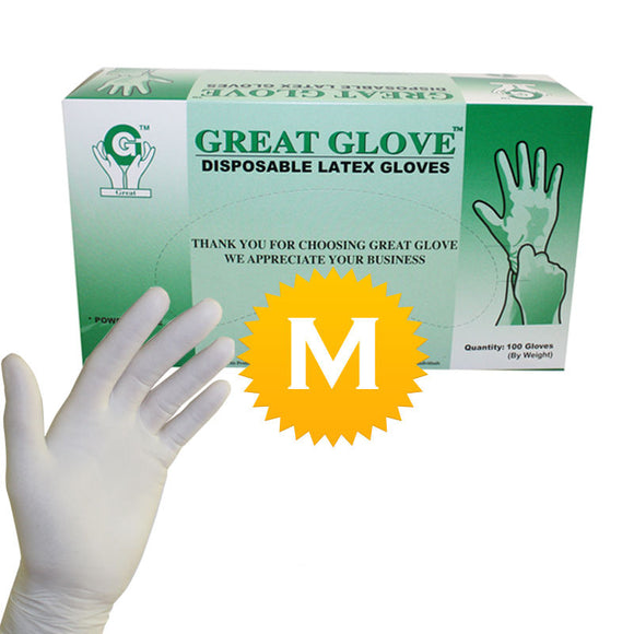 Latex Powder Free Gloves - Size Medium - 100 gloves