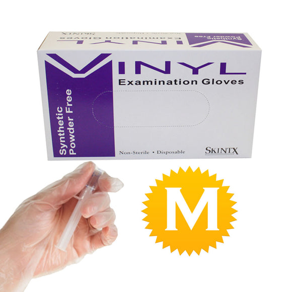 Vinyl Medical Exam Powder Free Gloves - Size Medium - 100 gloves