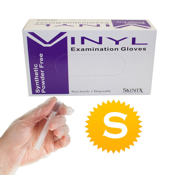 Vinyl Medical Exam Powder Free Gloves - Size Small - 100 gloves