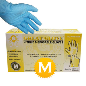 Nitrile Powder Free Gloves - Size Medium - 100 gloves