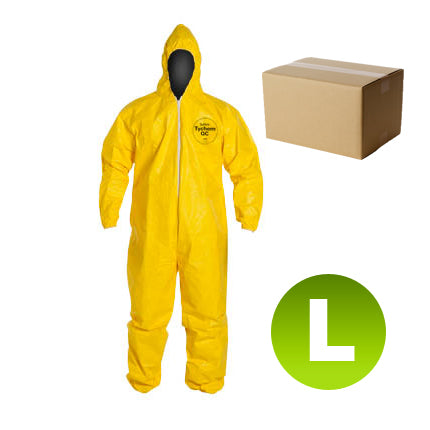 12 Suits QC127 - Size Large - DuPont Tychem Coverall, Standard Hood, Elastic Wrists & Ankles