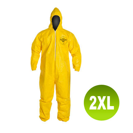 QC127 - Size 2XL - DuPont Tychem Coverall, Standard Hood, Elastic Wrists & Ankles