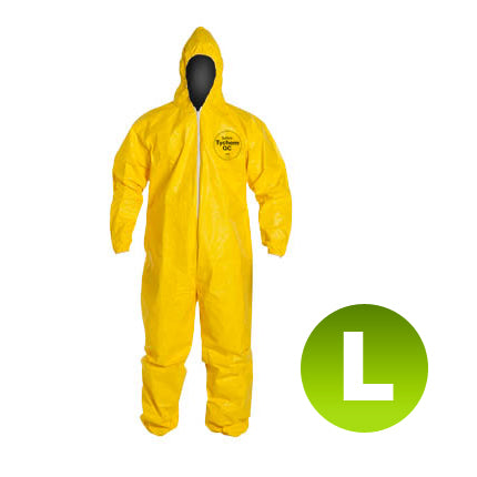 QC127 - Size Large - DuPont Tychem Coverall, Standard Hood, Elastic Wrists & Ankles