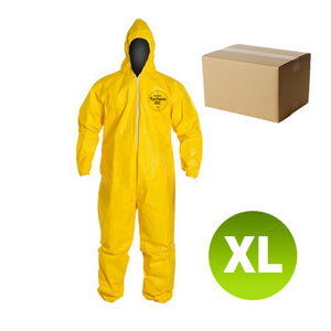 12 Suits QC127 - Size XL - DuPont Tychem Coverall, Standard Hood, Elastic Wrists & Ankles