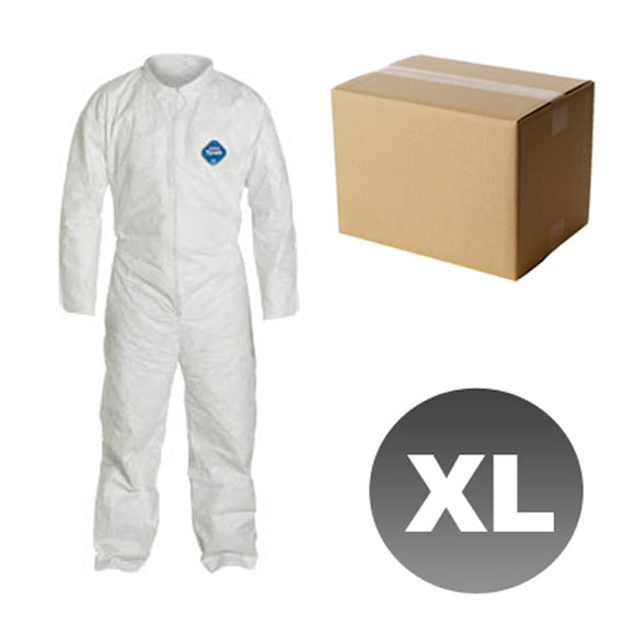 25 Suits TY120S - Size XL - DuPont Disposable Tyvek White Coverall Open wrists & ankles Suit