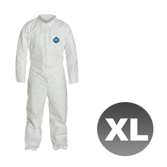 TY120S - Size Extra Large - DuPont Disposable Tyvek White Coverall Open wrists & ankles Suit