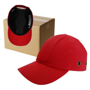 20 Red Baseball Bump Caps - Lightweight Safety hard hat head protection Caps