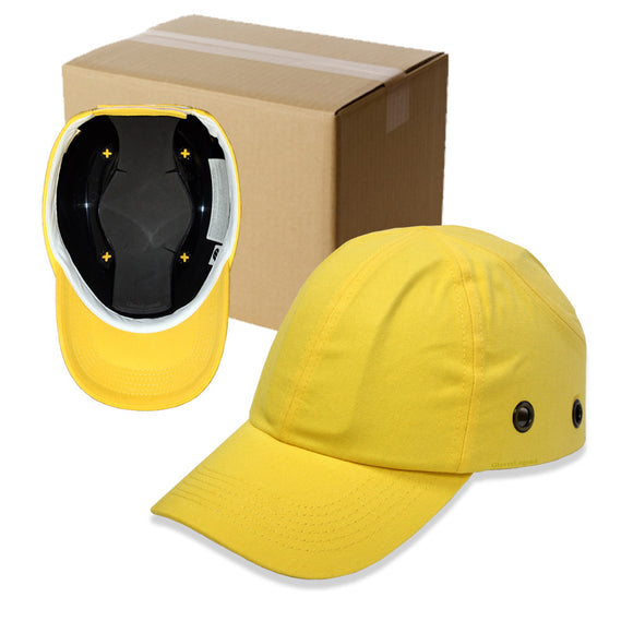 20 Yellow Baseball Bump Caps - Lightweight Safety hard hat head protection Caps
