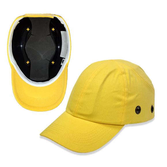 Yellow Baseball Bump Cap - Lightweight Safety hard hat head protection Caps