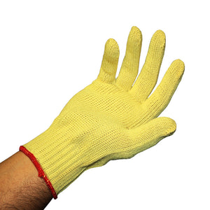 12 pairs Level 2 Cut Resistant 7 Gauge Yellow 100% KEVLAR Knit Gloves - Size Large