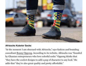 Afrisocks was chosen as the world's best patterned sock by New York Magazine