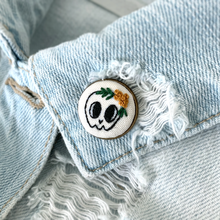 HAND EMBROIDERED SKULL LAPEL PIN
