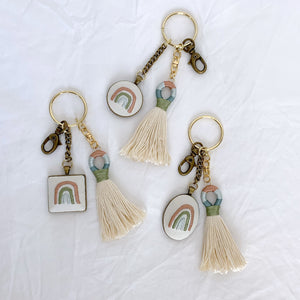 IVORY HAND EMBROIDERED RAINBOW KEYCHAIN with TASSEL