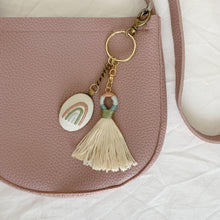 Load image into Gallery viewer, IVORY HAND EMBROIDERED RAINBOW KEYCHAIN with TASSEL
