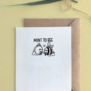 MINT TO BEE WEDDING CARD - Free Shipping