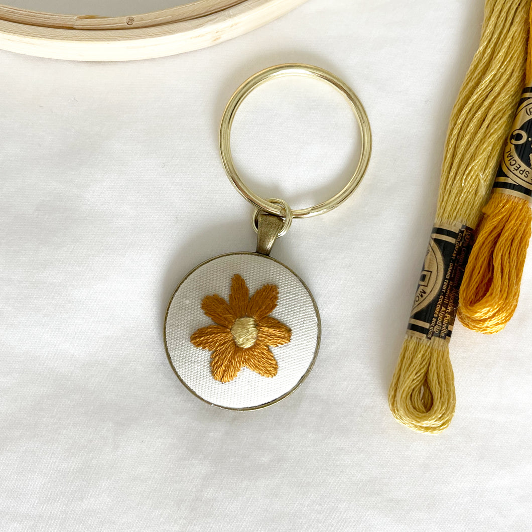 HAND EMBROIDERED FLOWER KEYCHAIN