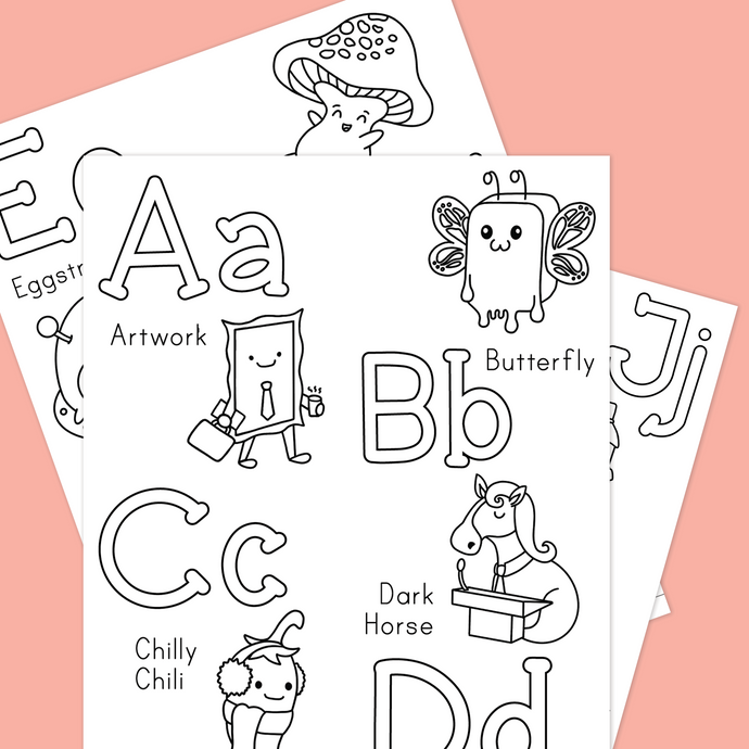 PUNNY ALPHABET COLORING SHEETS