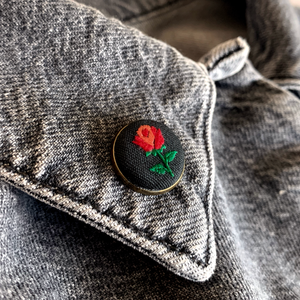 HAND EMROIDERED ROSE LAPEL PIN
