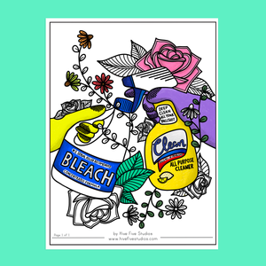 STAY HOME AND CLEAN ADULT COLORING SHEET