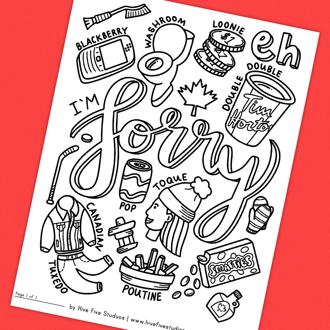 ALL THINGS CANADIAN COLORING SHEET