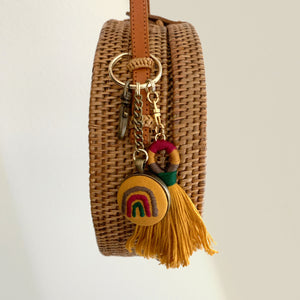 OCHRE HAND EMBROIDERED RAINBOW KEYCHAIN with TASSEL