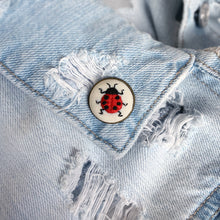 Load image into Gallery viewer, HAND EMROIDERED LADYBUG LAPEL PIN