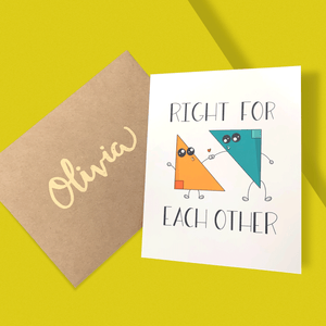 RIGHT FOR EACH OTHER UNISEX PERSONALIZED CARD