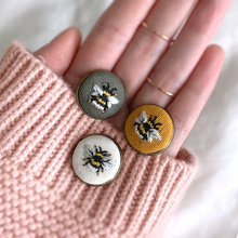 HAND EMROIDERED BEE LAPEL PIN
