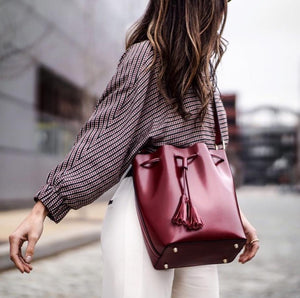 Minimalist Leather Bucket Bag Light Burgundy/Pomegranate