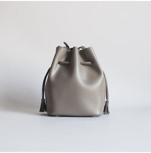 Mini Learther Bucket Bag Taupe