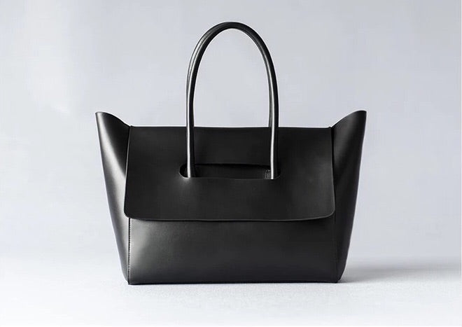 Black Leather Work Tote Flap Closure