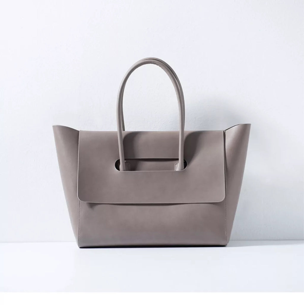 Taupe Leather Work Tote Flap Closure