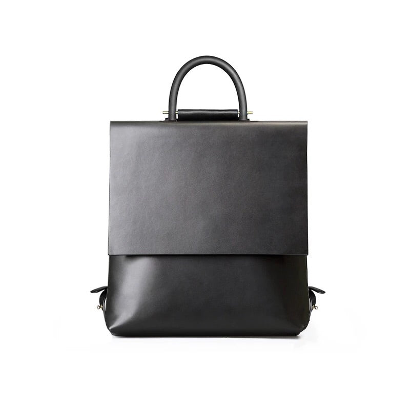 Minimalist Black Square Leather Backpack