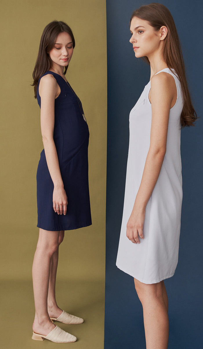 DEAR COLLECTIVE CARLA ASYMMETRICAL ZIP DRESS - NURSING / MATERNITY