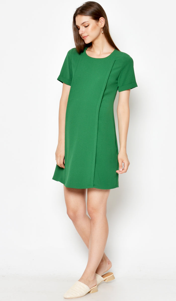 DEAR COLLECTIVE CRISSY SHIFT DRESS GREEN - NURSING / MATERNITY