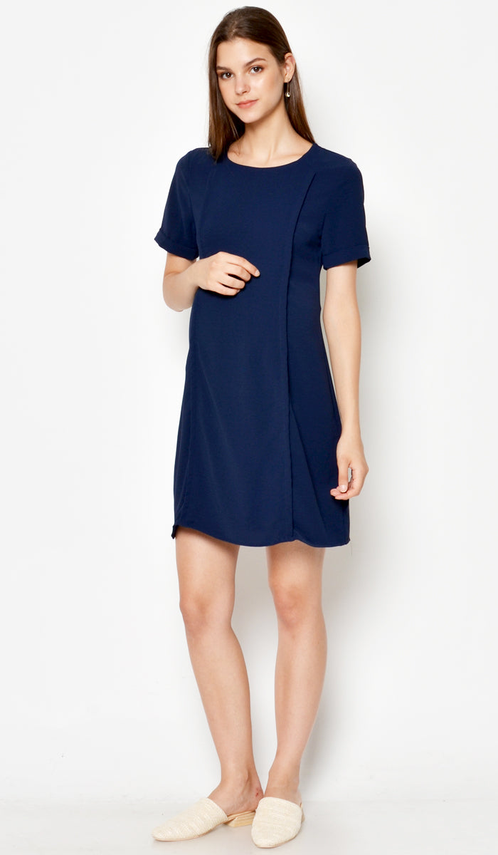 DEAR COLLECTIVE CRISSY SHIFT DRESS NAVY - NURSING / MATERNITY