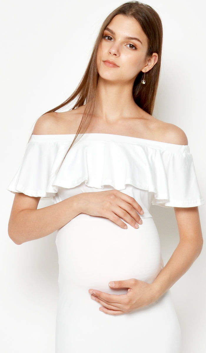 DEAR COLLECTIVE ISABEL MULTI WEAR MATERNITY MAXI DRESS WHITE