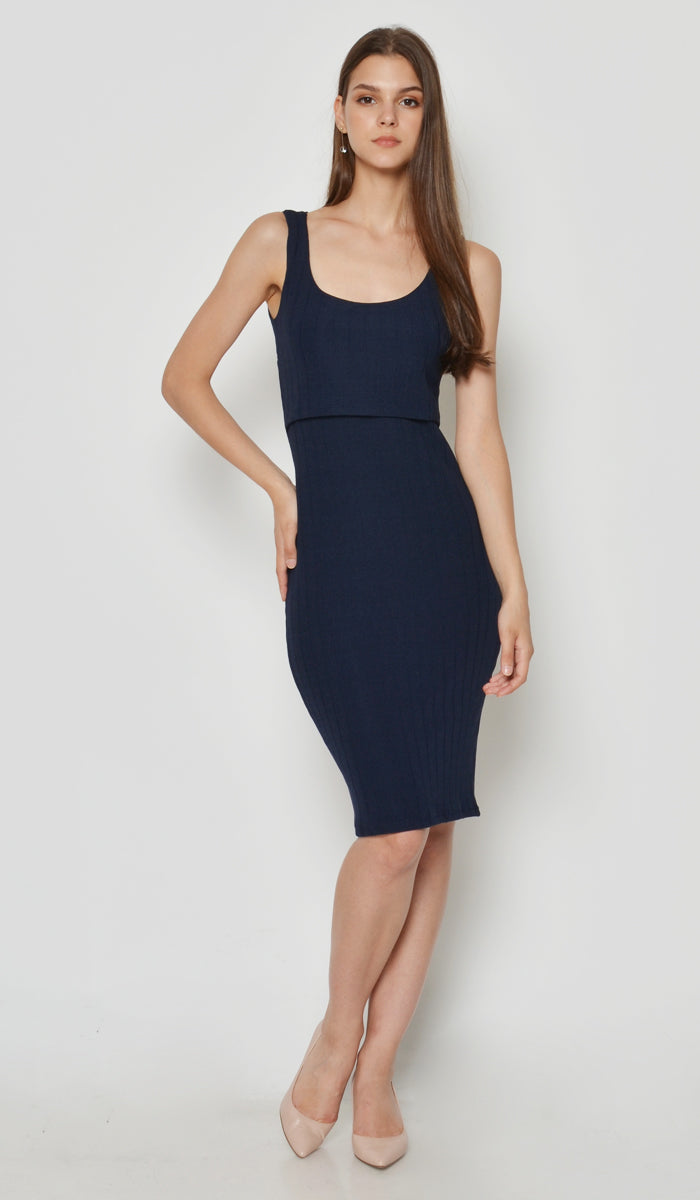 DEAR COLLECTIVE VELDA KNIT TANK DRESS NAVY - MATERNITY / NURSING