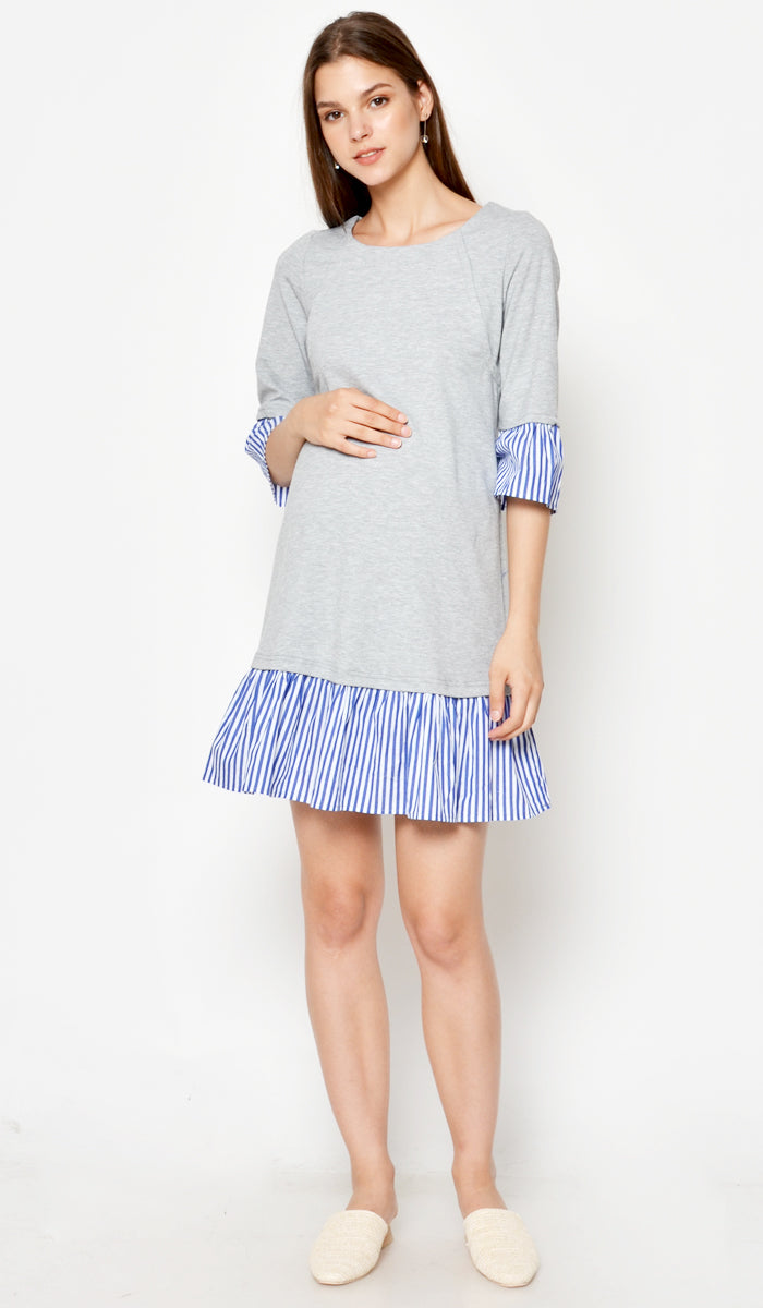 DEAR COLLECTIVE VITA STRIPED HEM DRESS GREY - NURSING / MATERNITY