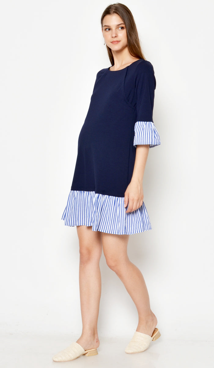 DEAR COLLECTIVE VITA STRIPED HEM DRESS NAVY - NURSING / MATERNITY