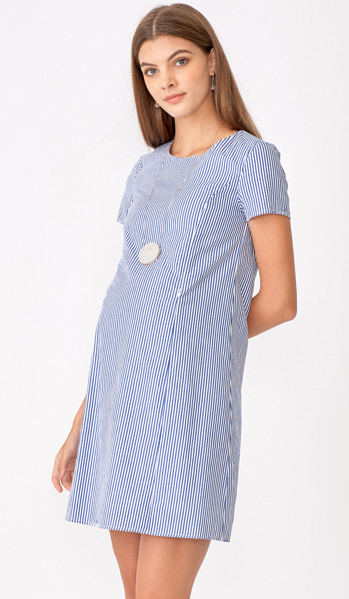 CLAIRE STRIPED DRESS W SASH
