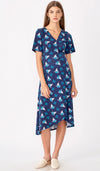 EVA FLORAL WRAP DRESS NAVY