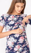 EVELYN FLORAL RUCHED BODYCON NAVY