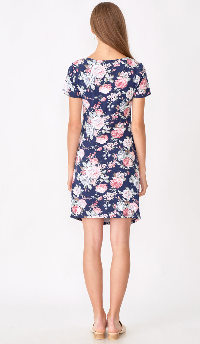 SALE - EVELYN FLORAL RUCHED BODYCON NAVY