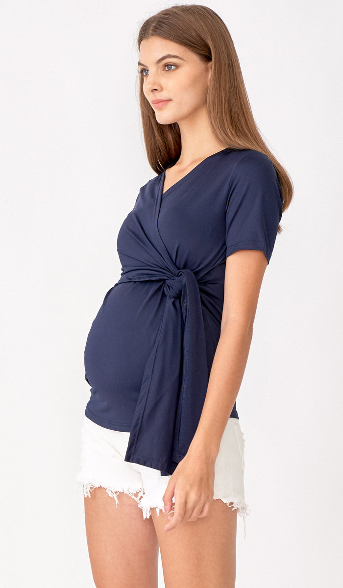 SALE - JULIA WRAP TOP NAVY